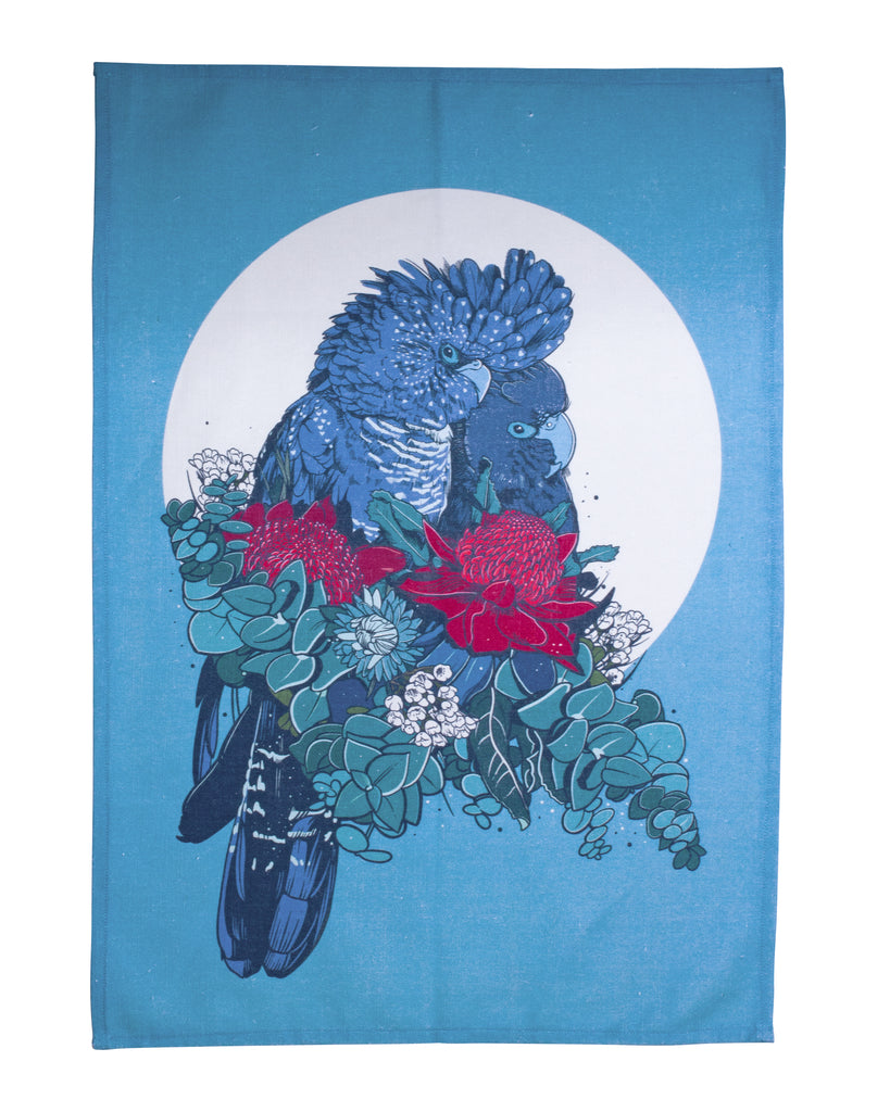 Moonshine Madness Tea Towel Black Cockatoo