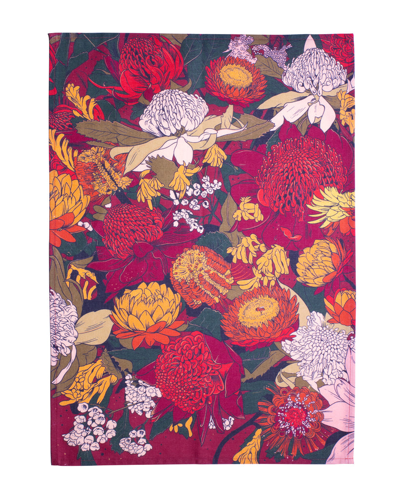 Moonshine Madness Tea Towel Wildflowers