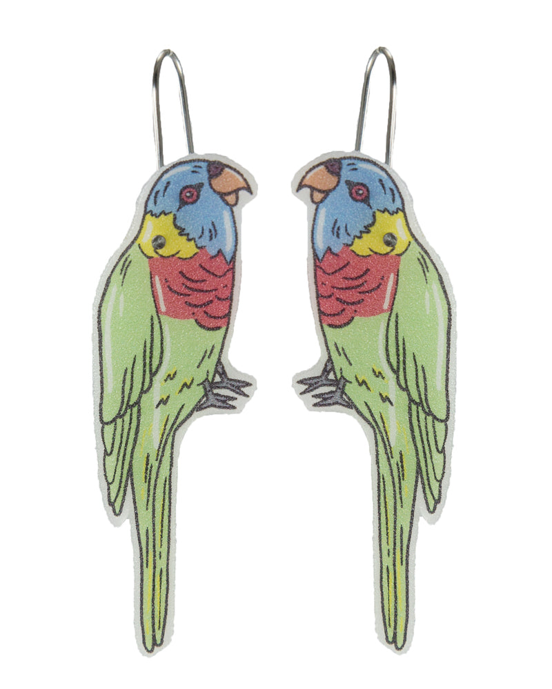 Busy Head Rainbow Lorikeet Earrings
