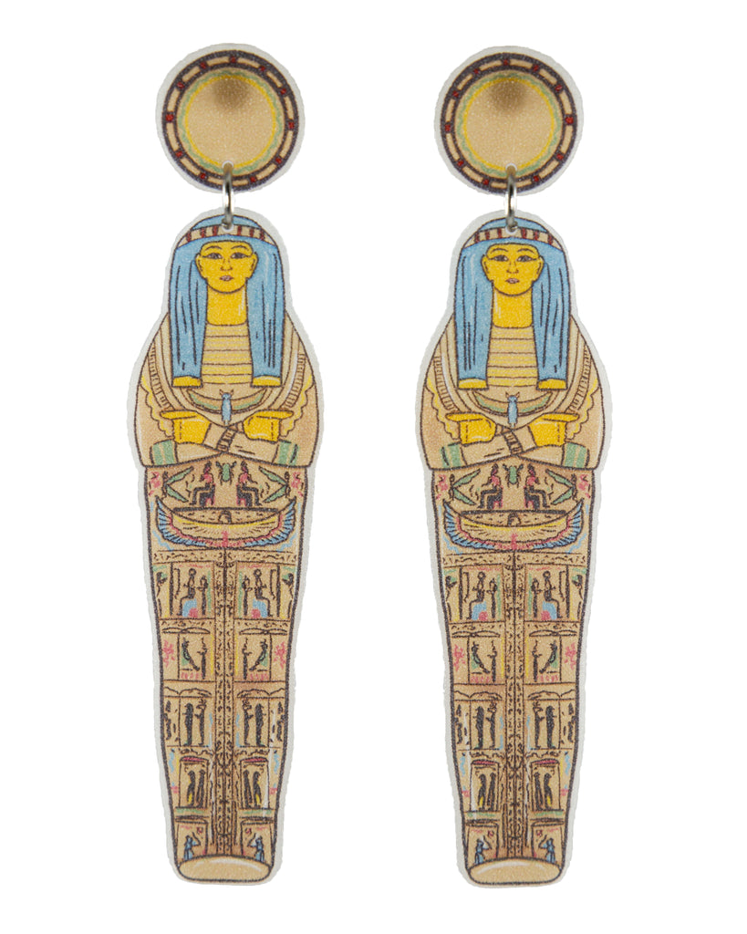 Busy Head Sarcophagus Studded Earrings
