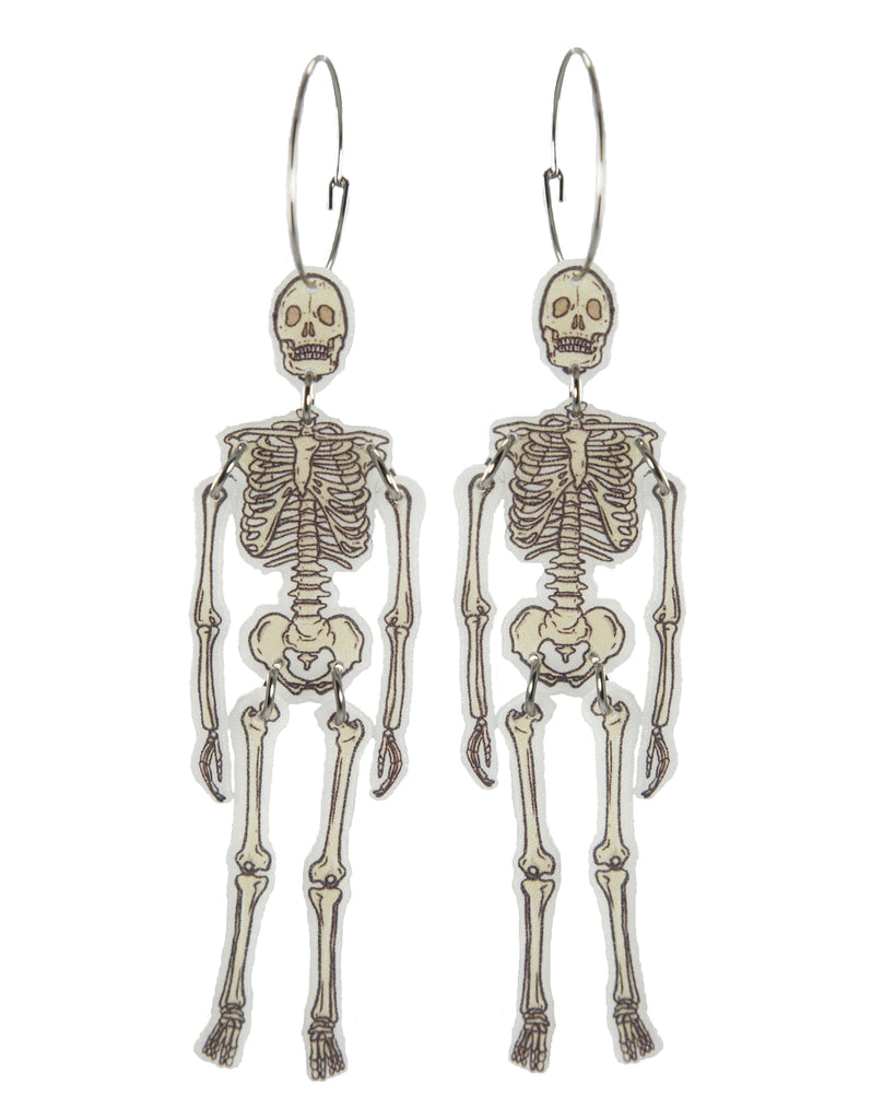 Busy Head Skeleton Statement Hoops