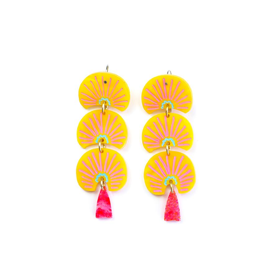 Concrete Jellyfish Abstract Yellow Triple Drop Peas Earring