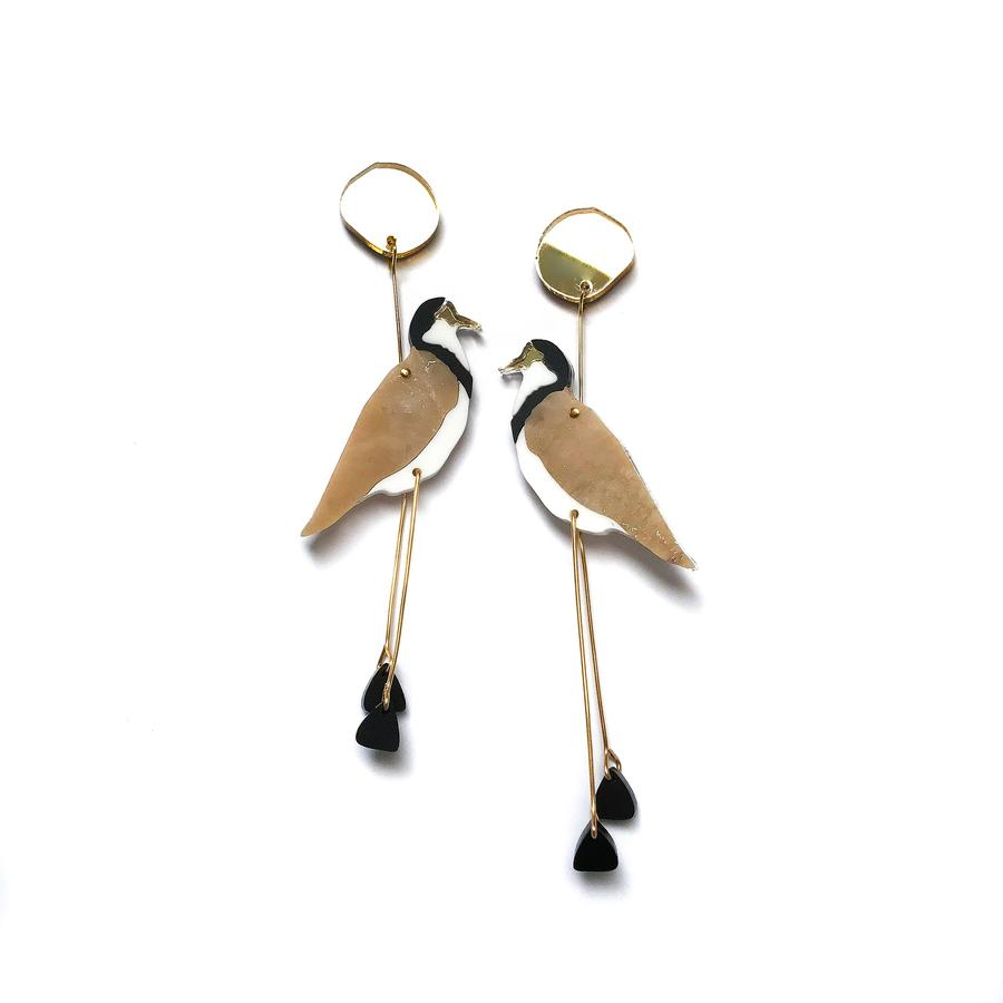 Concrete Jellyfish Masked Lapwing Plover Earring