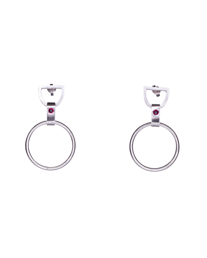 Xiao Large Garnet O-Hook Earrings
