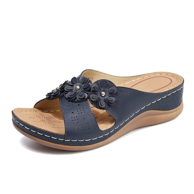 Blume Clip Toe Strand Flip Flops Casual Holiday Wedges Hausschuhe