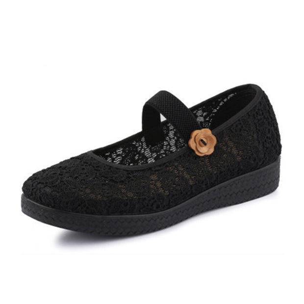 Women's flat with non-slip thick-soled breathable middle-aged cloth shoes