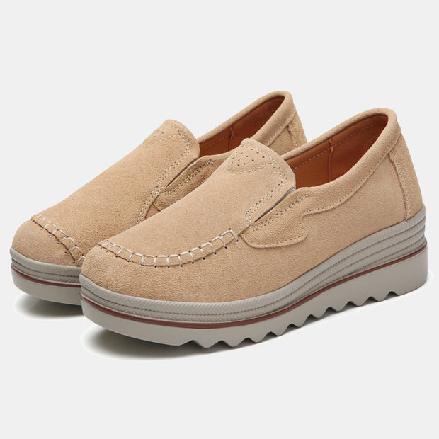 Frauen Wildleder Round Toe Slip On Pure Color Casual Frauen Plateauschuhe