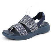 Damen Gummiband Peep Toe Athletic Sohle Slip On Leichte flache Sandalen