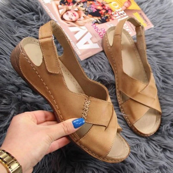 Frauen bequeme weiche Magic Tape Wedges Daily Crossed Sandalen
