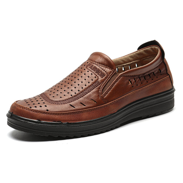 Herren Old Peking Style Hole Breathable Soft Slip On Freizeitschuhe