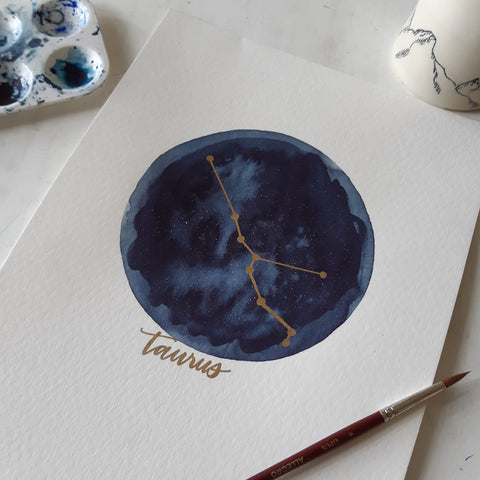 Original Watercolor Constellation Art