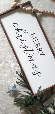 Merry Christmas Wood sign- BLACK