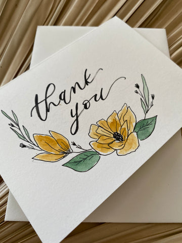 Thank you Watercolor Flowers Card