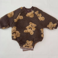 Cute Little Teddy Plush Romper 7-24M