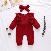 Pure Cotton Long Flare Sleeve Jumpsuit with Headband Set