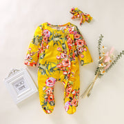 Floral Footed Romper with Headband Set 9M-18M