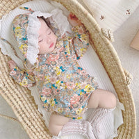 Pure Cotton Peter Pan Collar Romper With Hat Set 6M-18M