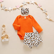 Solid Romper and Leopard Shorts Outfit with Headband 3PCS Set
