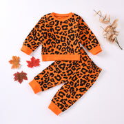 Leopard Long Sleeve Sweater With  Elastic Waist Trousers 2PCS Set 6M-24M
