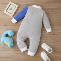 3D Crocodile Long Sleeve Jumpsuit 9M-18M