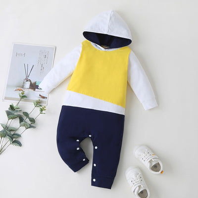 Three Colors Long Sleeve Hooded Jumpsuit 9M-18M