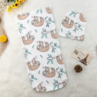 Infant baby swaddle wrap with matching hat style