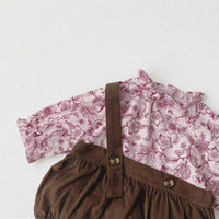 Fashion Floral Blouse & Velvet Shorts with Suspenders 7M-24M