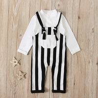 White Romper With Striped Dungarees 2PCS Set 12M-24M