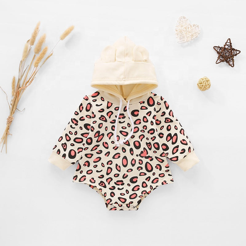 Hooded Leopard  Long Sleeve One Piece Romper 6M-18M