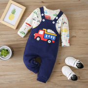 Truck Dungarees with Long Sleeve Shirt Set 6M-12M