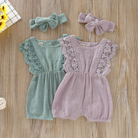 Flare Sleeves Solid Lace Jumpsuit with Headband Set 3M-24M