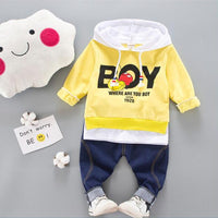 Sports Hooded T Shirt Sweater With Pants 12M-4Y