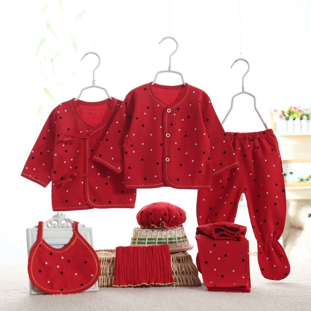 Christmas Red Stars  Newborn 7PCS Set - childzania