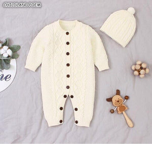 Knitted 100% Cotton Jumpsuit With Hat 3M-24M
