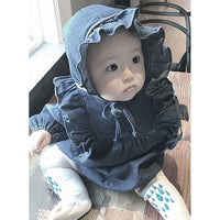 Long Sleeve Ruffle Denim Jumpsuits With Hat Set 6M-24M