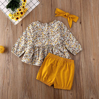 Floral Top With Short And Headband Set 3M-18M