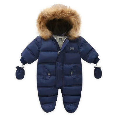 Hooded Fur Fleece Jumpsuit & Mittens 3M-24M