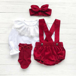 Ruffle Lace Long Sleeve Blouse With Pants And Headband Set 6M-24M