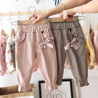 Ruffle Bowknot Decor Trousers 9M-3Y