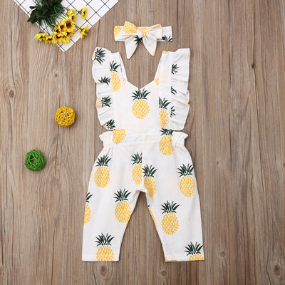 Pineapple Ruffle Jumpsuit With Headband 2PCS