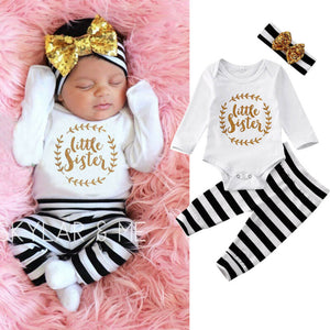 Little Sister Romper With Leggings And Headband 3M-12M