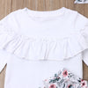 White Ruffle Top With Floral Pants And Headband Set 12M-5Y