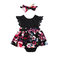 Ruffle Romper Floral Dress With Headband Set 6M-6Y