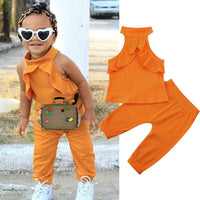 Solid Sleeveless Top With Joggers Set 12M-4Y