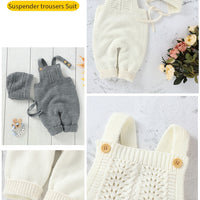 Unisex Solid Jumpsuits With Hat Set 3M-18M