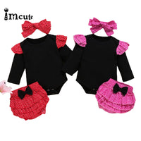Romper With Ruffle Shorts And Headband Set 6M-24M