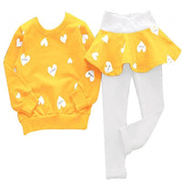 Heart Print Leggings-Skirt With Sweater 2PCS Set 2Y-7Y