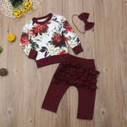 Floral Jumper Pants Headband Set 6M-24M - childzania