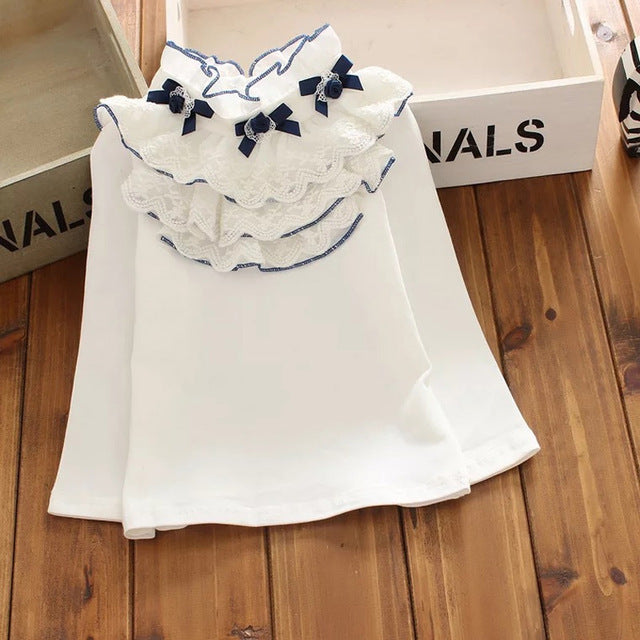 Long Sleeve Lace Ruffle Blouse 2Y-13Y