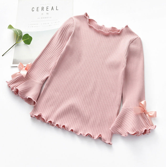 Long Sleeves Lace Bow Tops 2Y-8Y - childzania